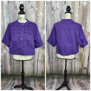 One World Purple Denim Elbow Sleeve Cropped Jacket